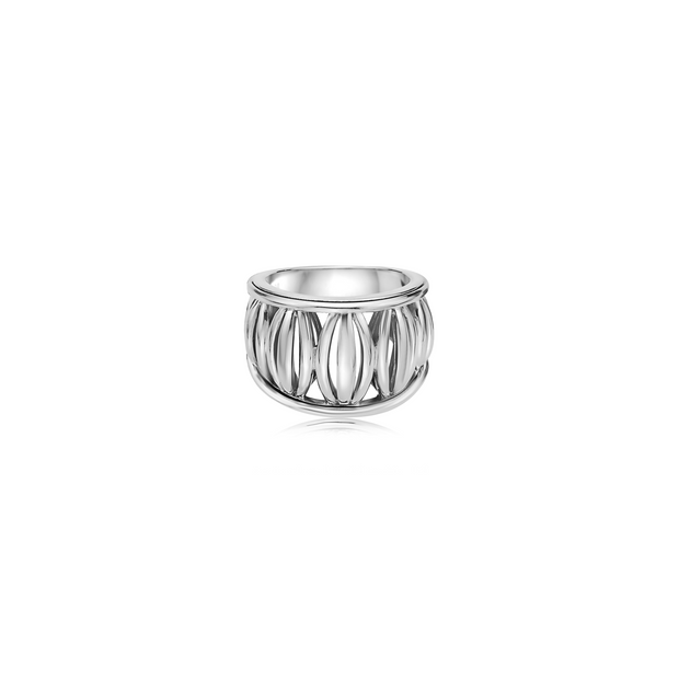 Silver Birdcage Banded Ring