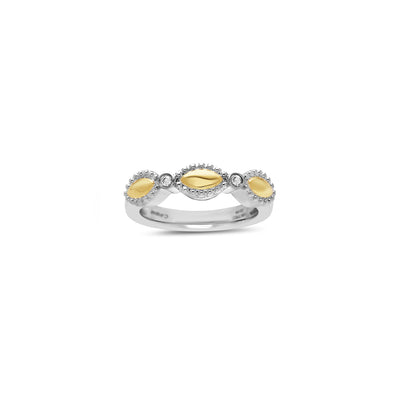 Silver Firefly Diamond Bead Single-Band Ring