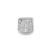 Silver Ivy Lace Large Saddle Ring