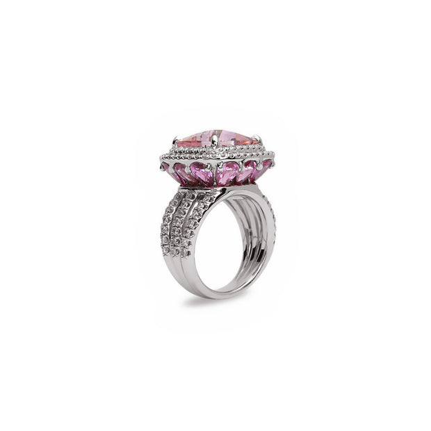 Pastel Diamond Split-Band Cushion Ring