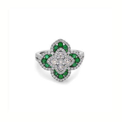 Diamond Regal Flower Ring