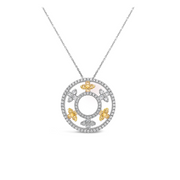 Diamond Air Flower Circle Necklace