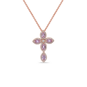 Pastel Diamond Firefly Marquise Cross Necklace