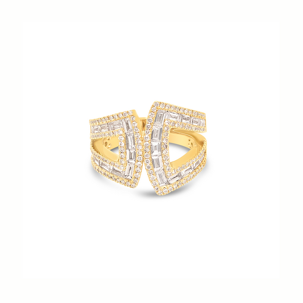 Krypell Collection Diamond Baguette Bypass Ring