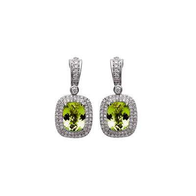 Pastel Diamond Double Halo Cushion Drop Earring