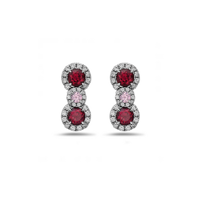 Pastel Diamond Triple Drop Earring