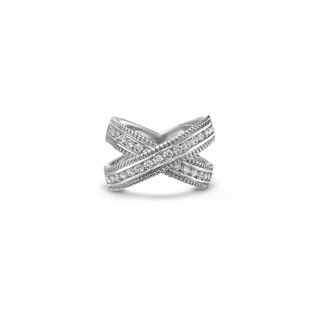 Gold and Diamond Classic X Band Ring