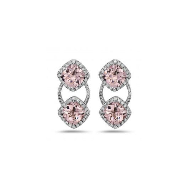 Pastel Diamond Double Cushion Earring
