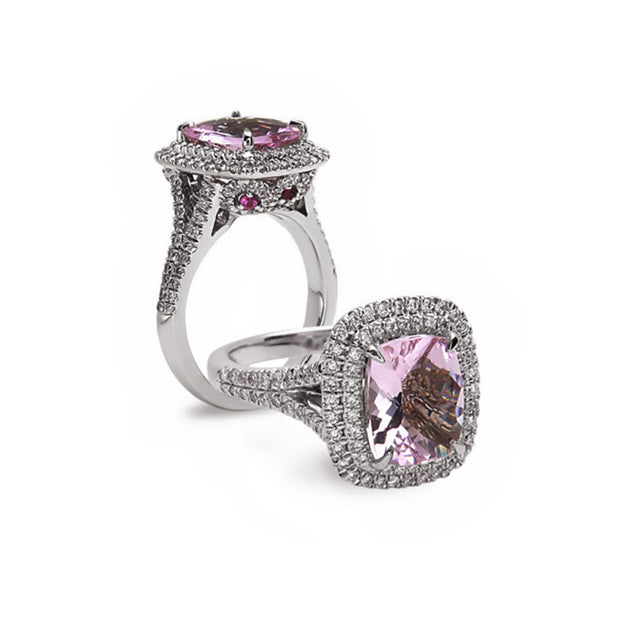 Pastel Diamond Split-Band Elongated Cushion Ring