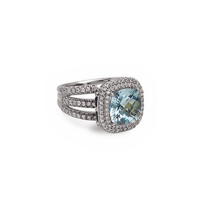Pastel Diamond Split-Band Classic Cushion Ring