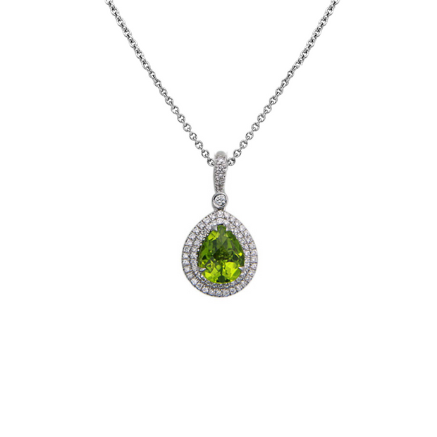 Pastel Diamond Double Halo Pear-Shape Reversible Necklace