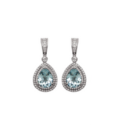 Pastel Diamond Double Halo Pear Drop Earring