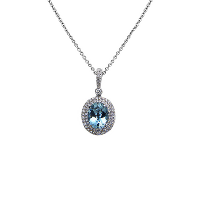 Pastel Diamond Double Halo Oval Reversible Necklace
