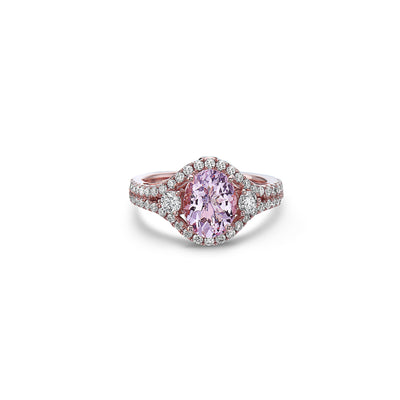 Pastel Diamond Split-Shank Oval Ring