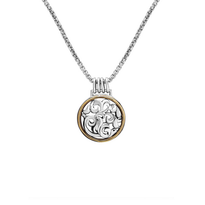 Silver Ivy Two Tone Circle Pendant