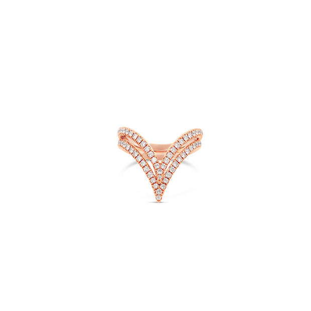 Diamond Double V Ring