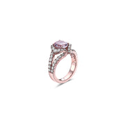 Pastel Diamond Split-Band Oval Ring