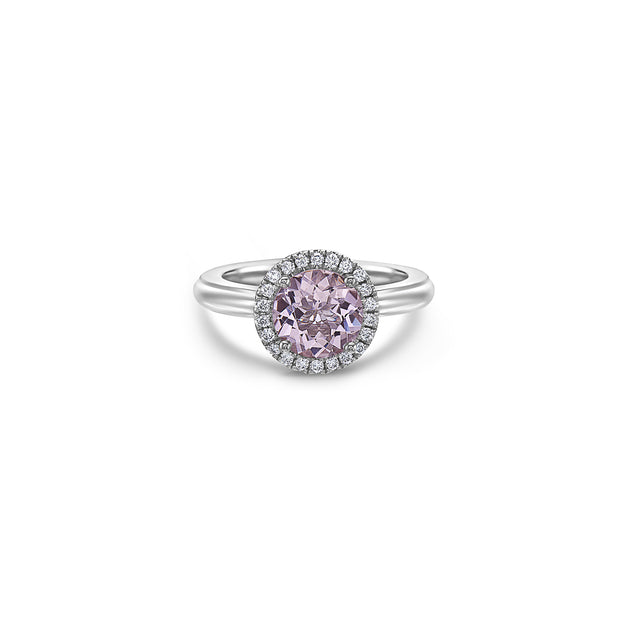 Pastel Diamond Round Station Ring