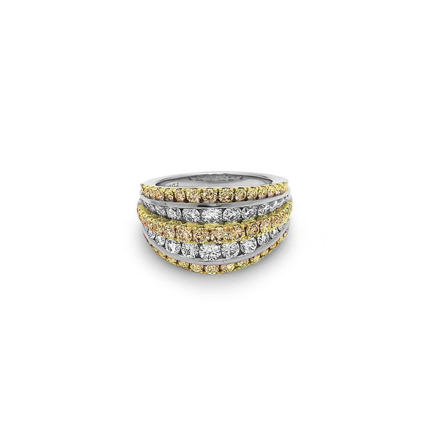 Platinum and Gold Diamond Tiered Ring