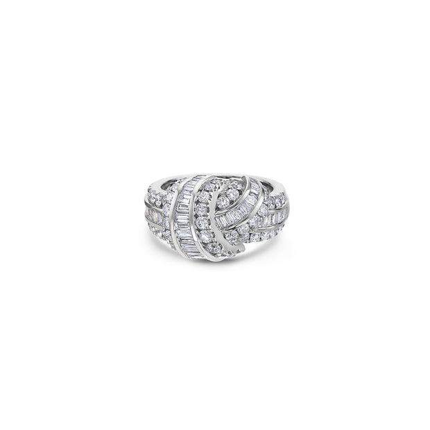 Krypell Collection Platinum and Gold Baguette Knot Ring