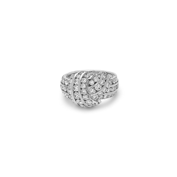 Platinum and Gold Diamond Classic Knot Ring