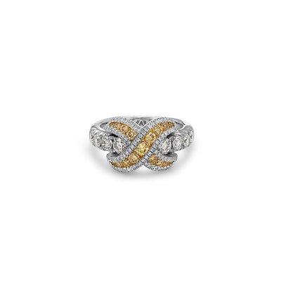 Platinum Diamond Crossover Ring