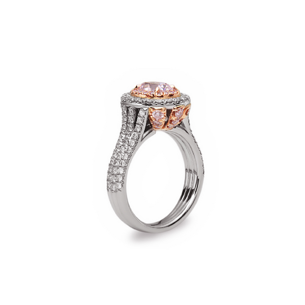 Precious Pink Diamond Double Halo Oval Ring