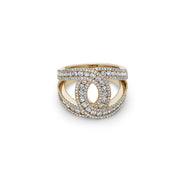 Gold and Diamond C Band Ring