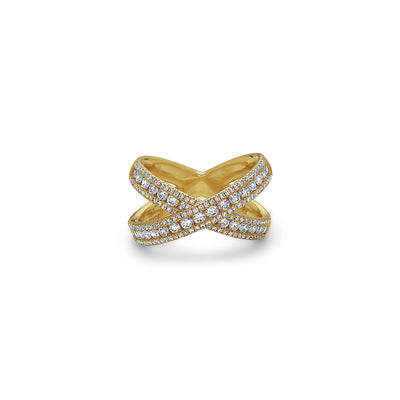 Gold and Diamond X Band Ring