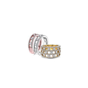 Diamond Air Triple Row Ring