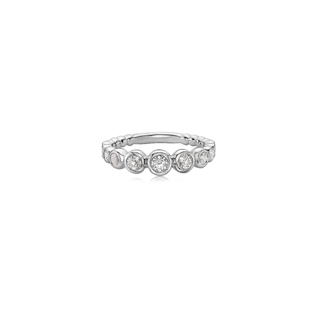Diamond Bubble Single Stacking Ring