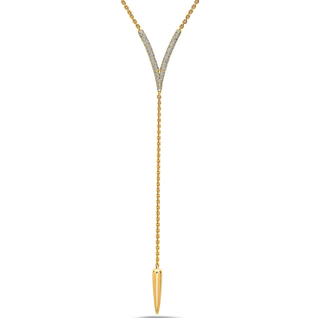 Diamond Drop V Tassel Necklace