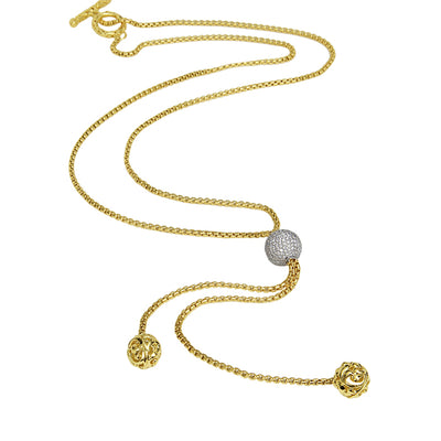 Gold Ivy Diamond Bead Necklace