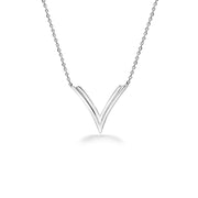 Silver Double V Necklace