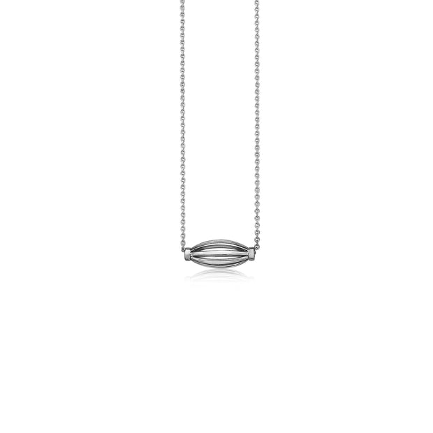Silver Birdcage Elongated Bead Necklace
