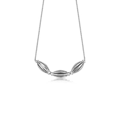 Silver Birdcage Elongated Triple Bead Necklace