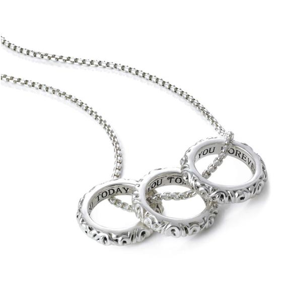 I Love You Today... Tomorrow... Forever...' Three Ring Love Necklace