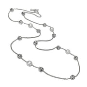 Silver Ivy Bead Chain Long Necklace