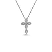 Silver Firefly Diamond Bead Cross Necklace