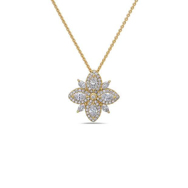 Diamond Lotus Pendant Necklace