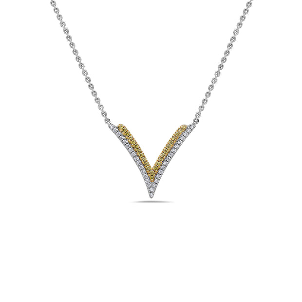Diamond Double V Pendant Necklace