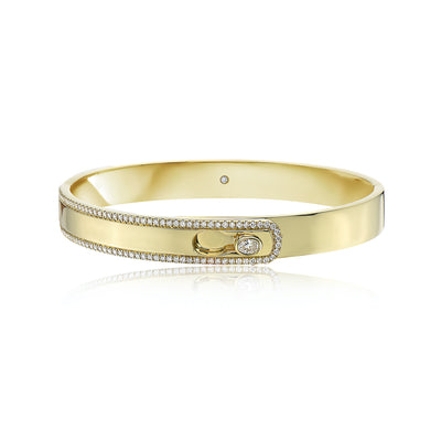 Gold and Diamond Hinged Lock Bracelet