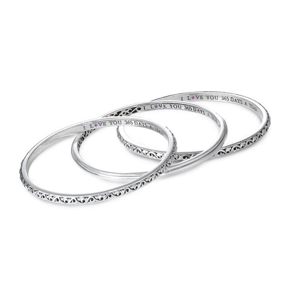 I Love You 365 Days a Year' Stackable Bangle Bracelets