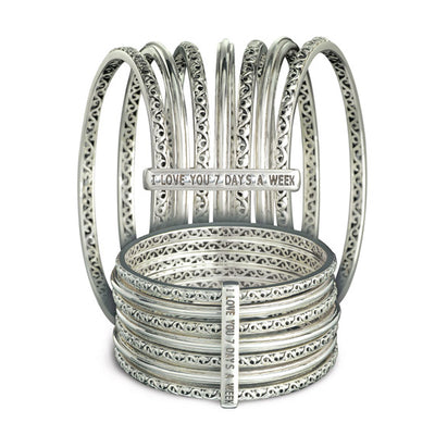 Silver I Love You 7 Days a Week' Bangles