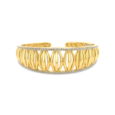 Gold and Diamond Domed Birdcage Cuff