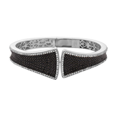 SILVER BLACK AND WHITE Sapphire SPLIT V CUFF