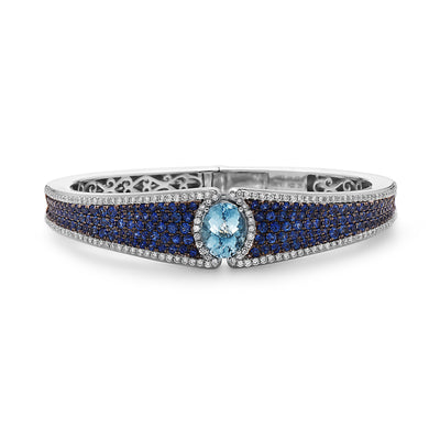 Pastel Diamond and Sapphire Top-Lock Cuff