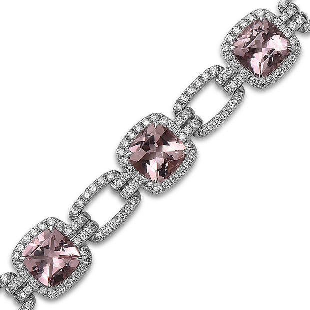 Pastel Diamond Link Cushion Bracelet