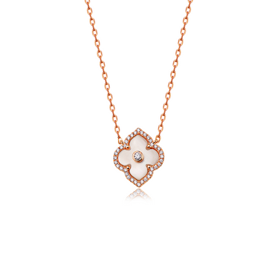 Gold and Diamond Les Fleurs Precious Single Motif Pendant