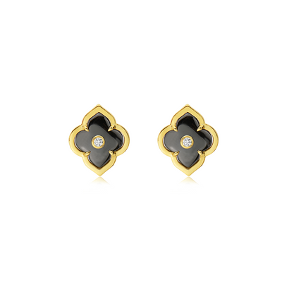 Gold and Diamond Les Fleurs Stud Earring